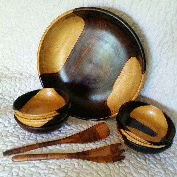 Vintage Other - Vintage 2 Tone Brown Wooden Boho Salad Bowl Set